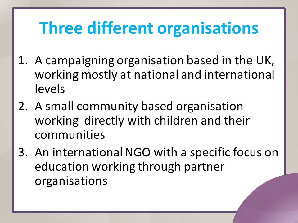 Three different organisations