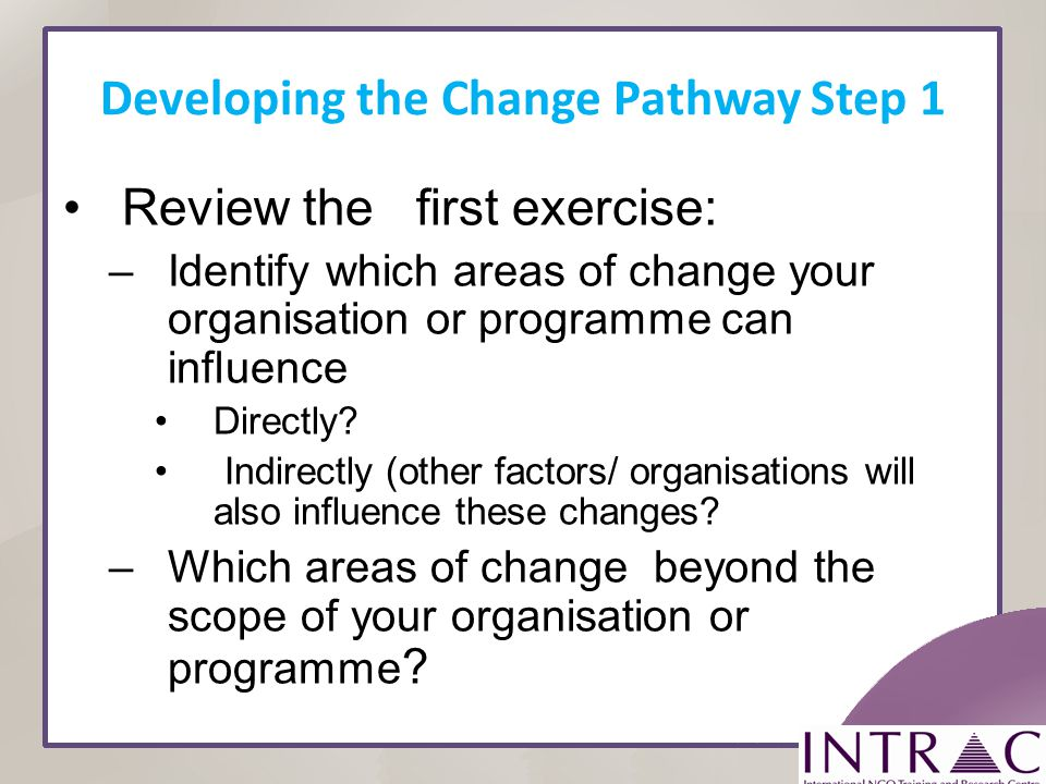 Developing the Change Pathway Step 1