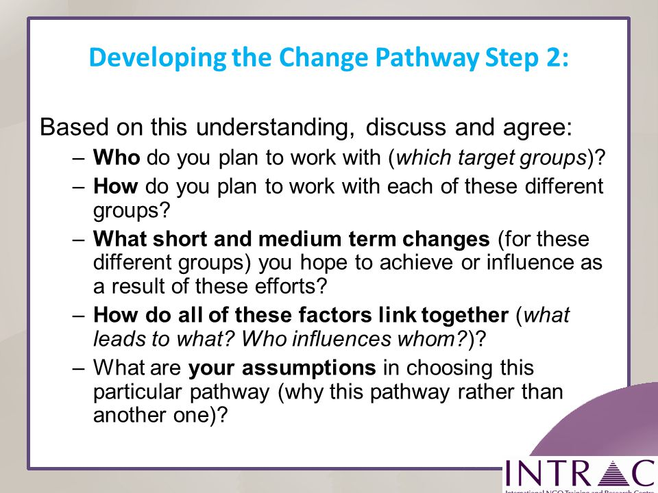 Developing the Change Pathway Step 2: