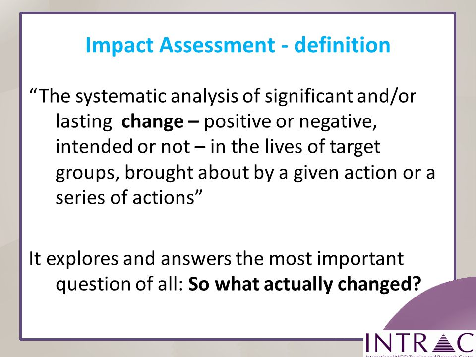 Impact Assessment - definition