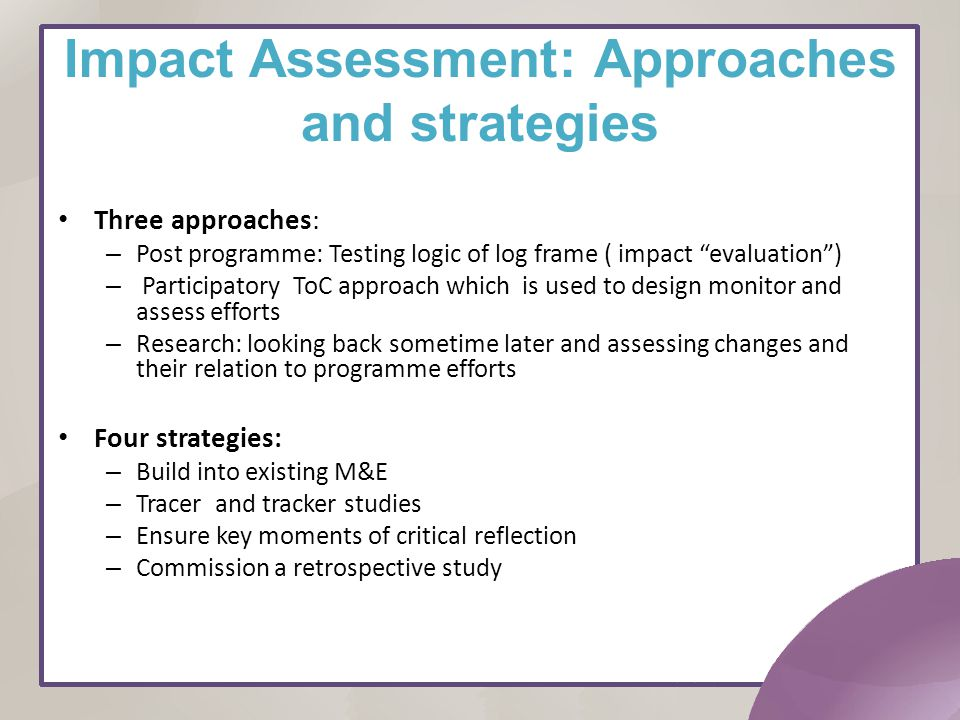 Impact Assessment: Approaches and strategies