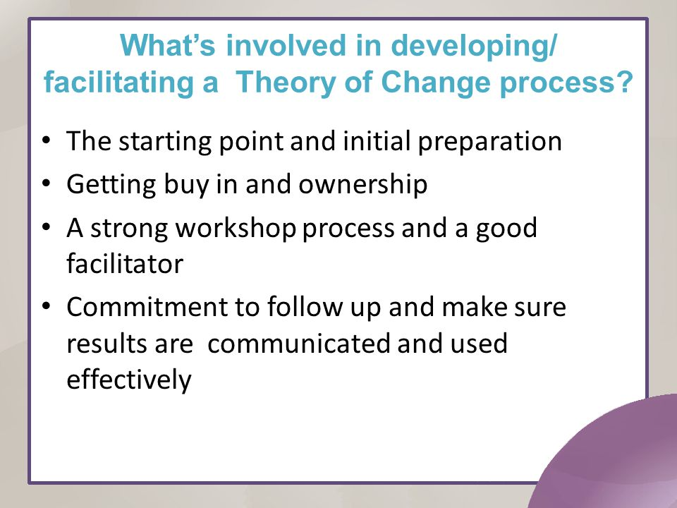 What's involved in developing/ facilitating a Theory of Change process