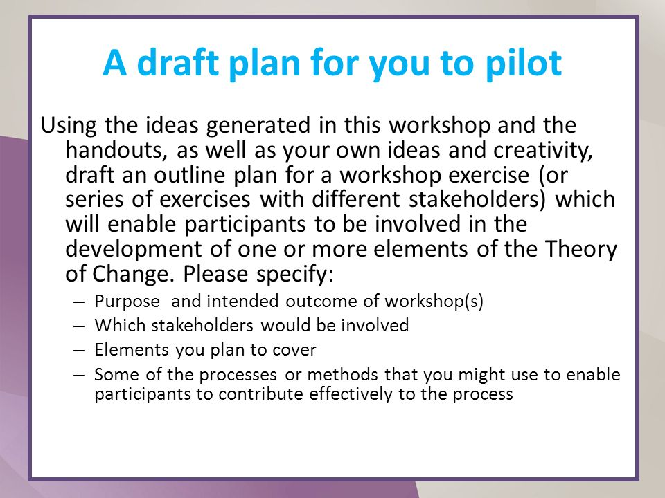 A draft plan for you to pilot