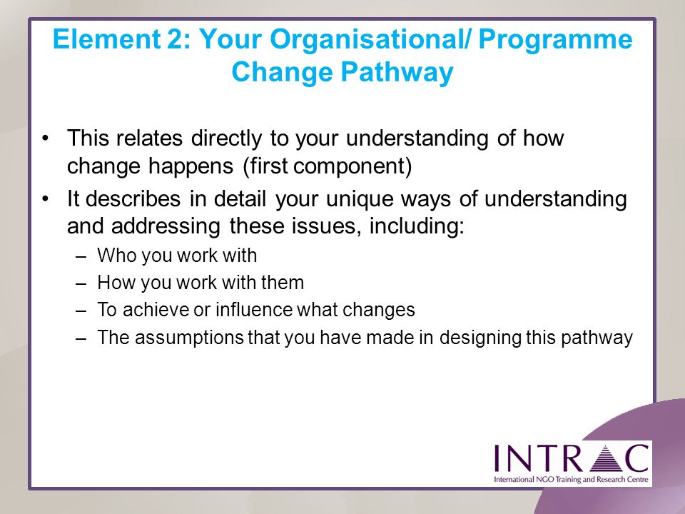 Element 2: Your Organisational/ Programme Change Pathway