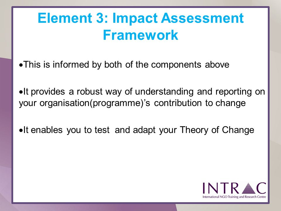 Element 3: Impact Assessment Framework