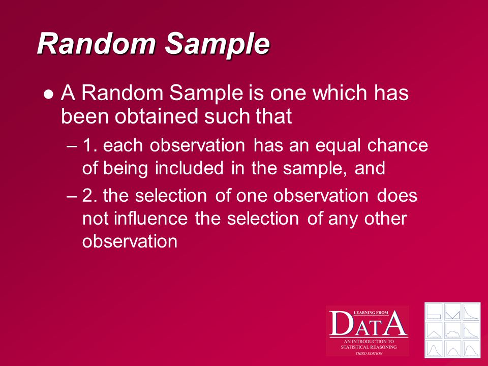 Random Sample A Random Sample is one which has been obtained such that