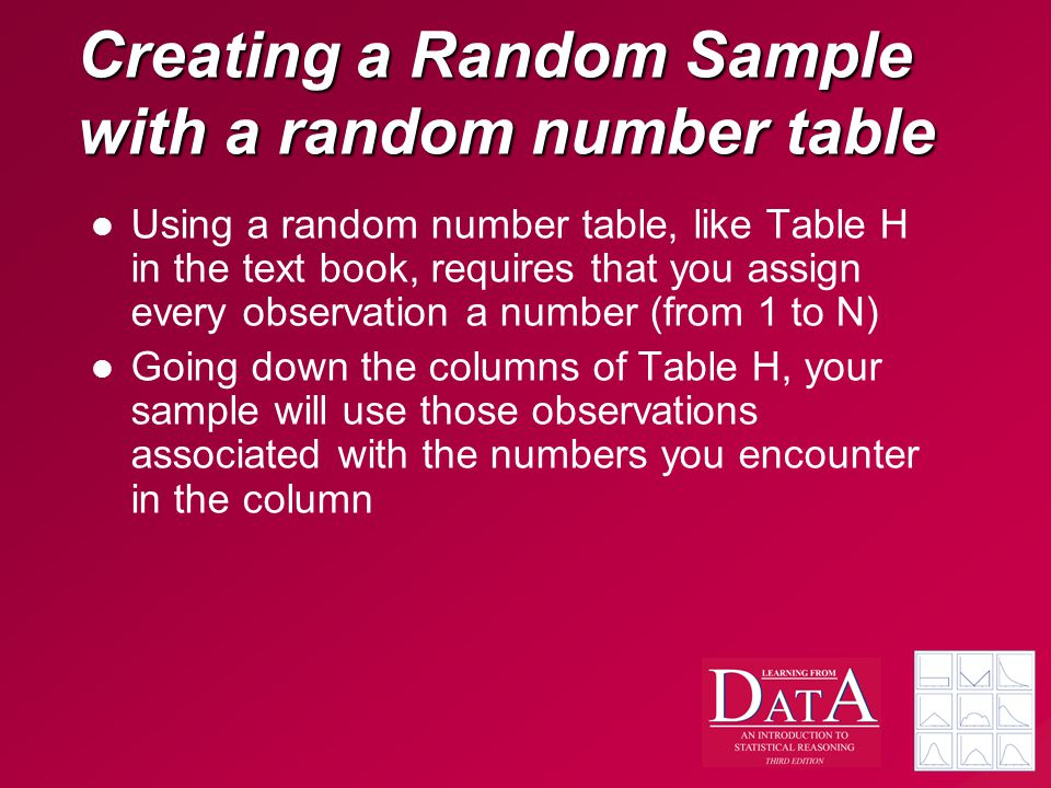Creating a Random Sample with a random number table