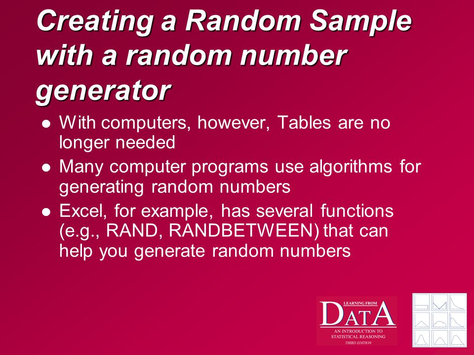 Creating a Random Sample with a random number generator