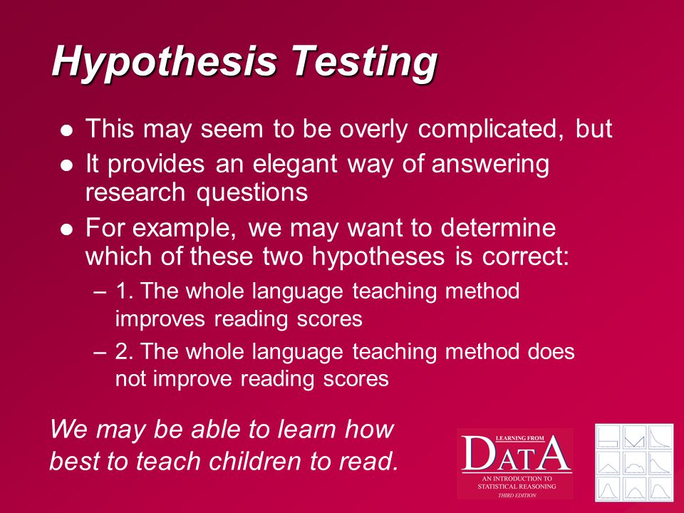 Hypothesis Testing This may seem to be overly complicated, but