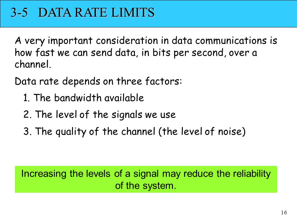 3-5 DATA RATE LIMITS A very important consideration in data communications is how fast we can send data, in bits per second, over a channel.