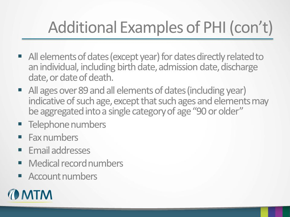 Additional Examples of PHI (con't)