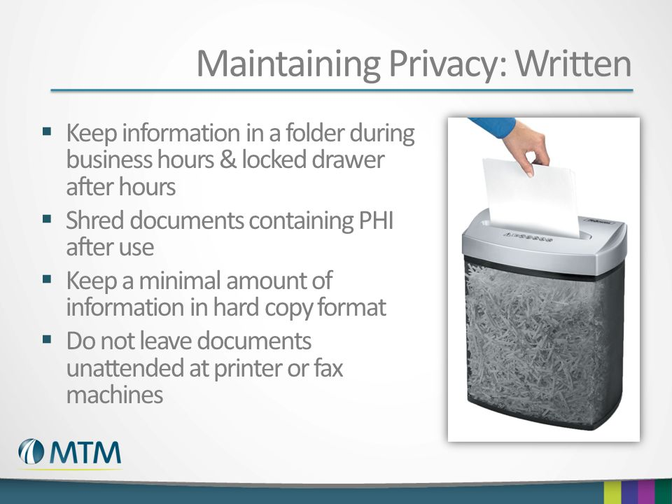 Maintaining Privacy: Written