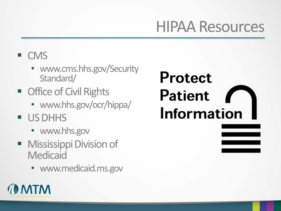 HIPAA Resources CMS Office of Civil Rights US DHHS
