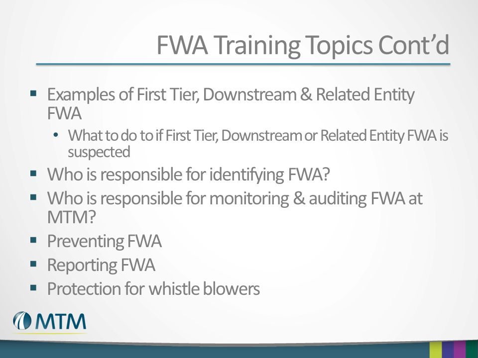 FWA Training Topics Cont'd