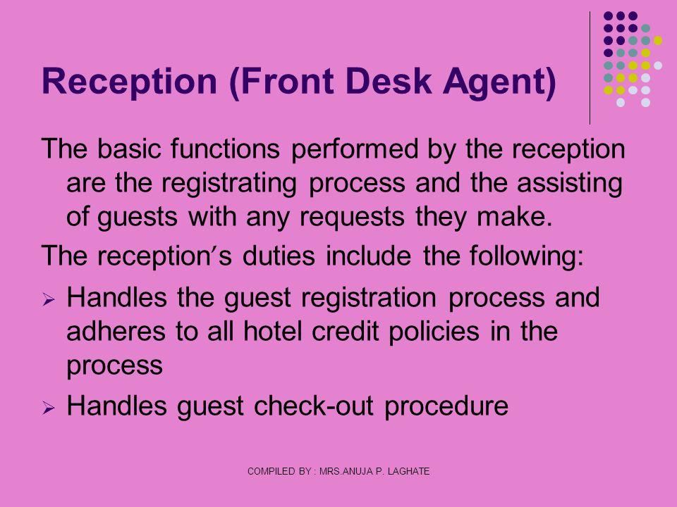 Reception (Front Desk Agent)