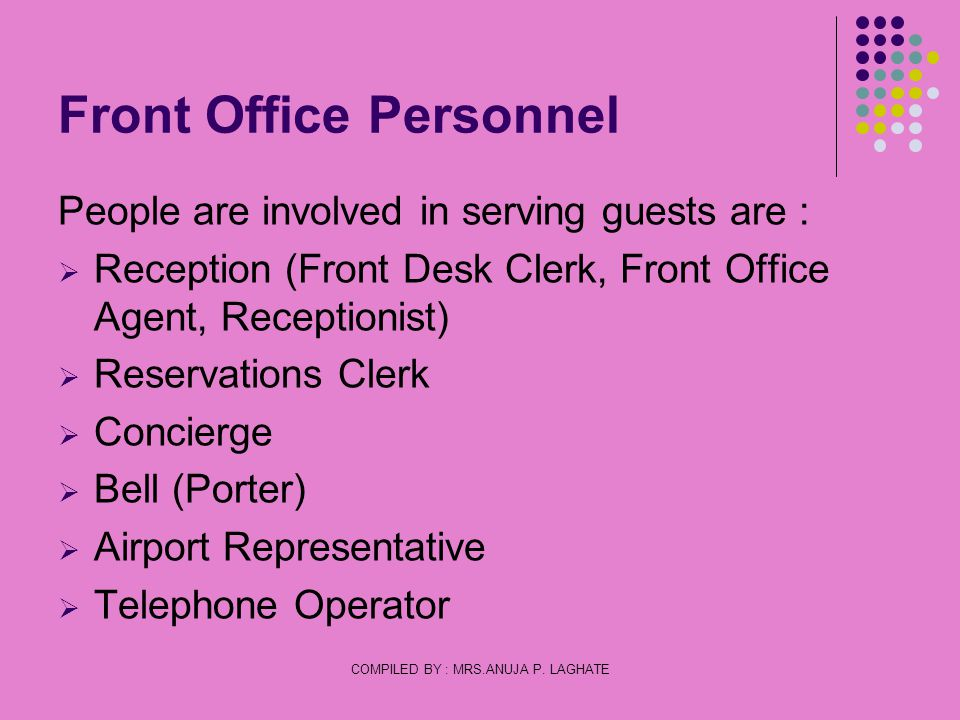 Front Office Personnel