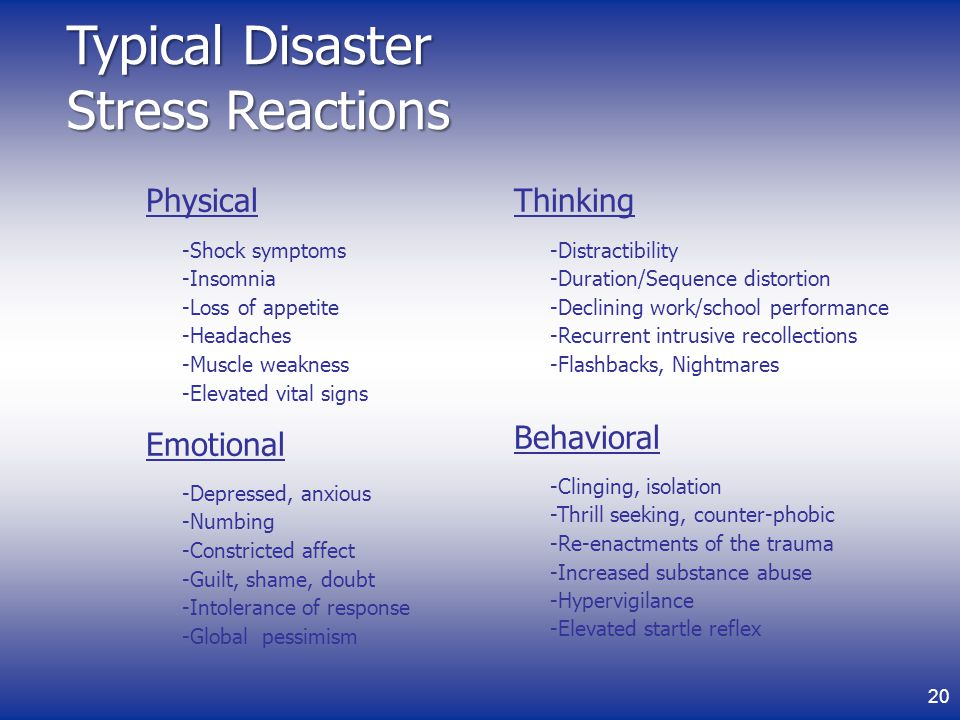 Typical Disaster Stress Reactions