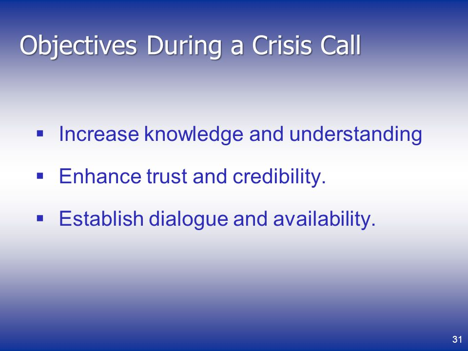 Objectives During a Crisis Call
