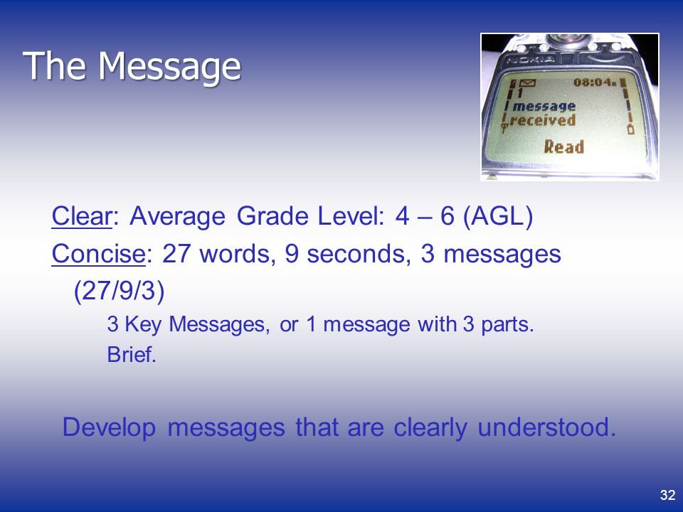 Develop messages that are clearly understood.