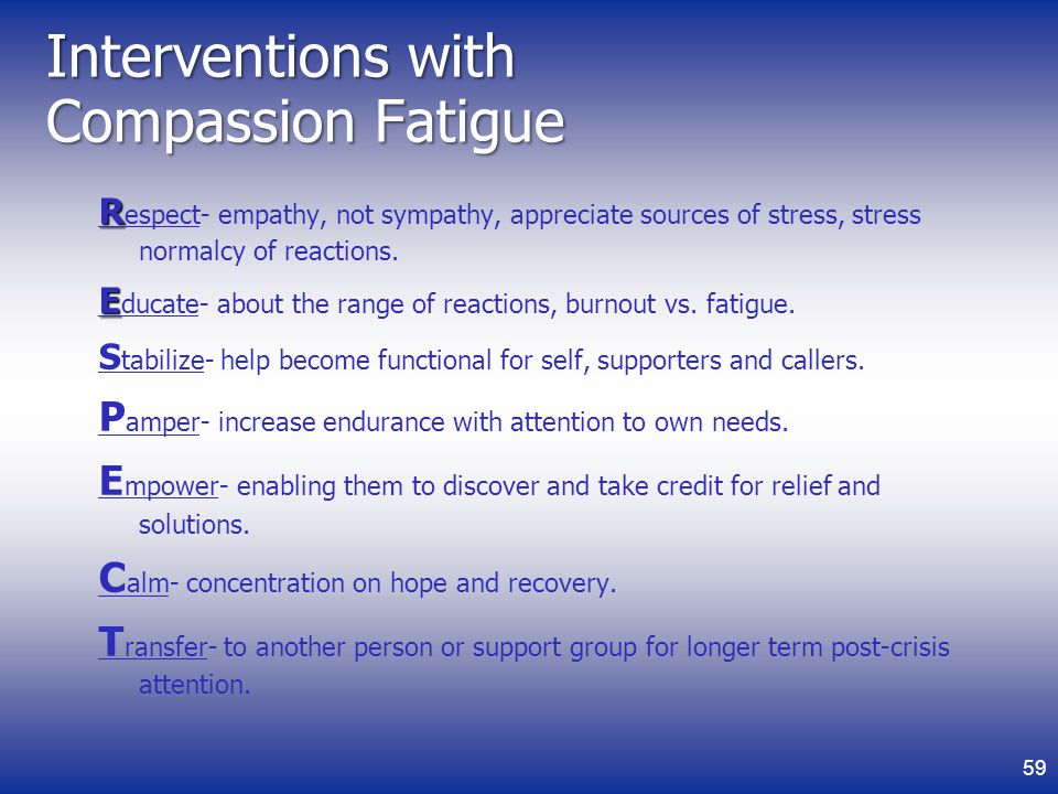 Interventions with Compassion Fatigue