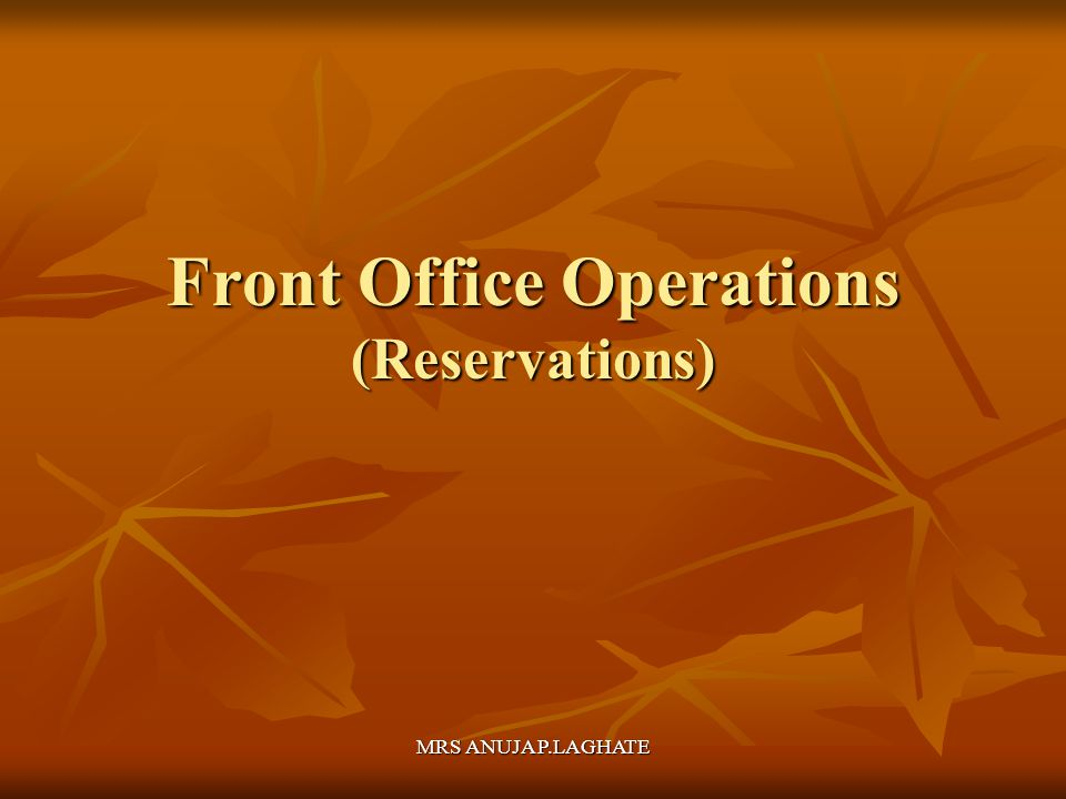Front Office Operations (Reservations)