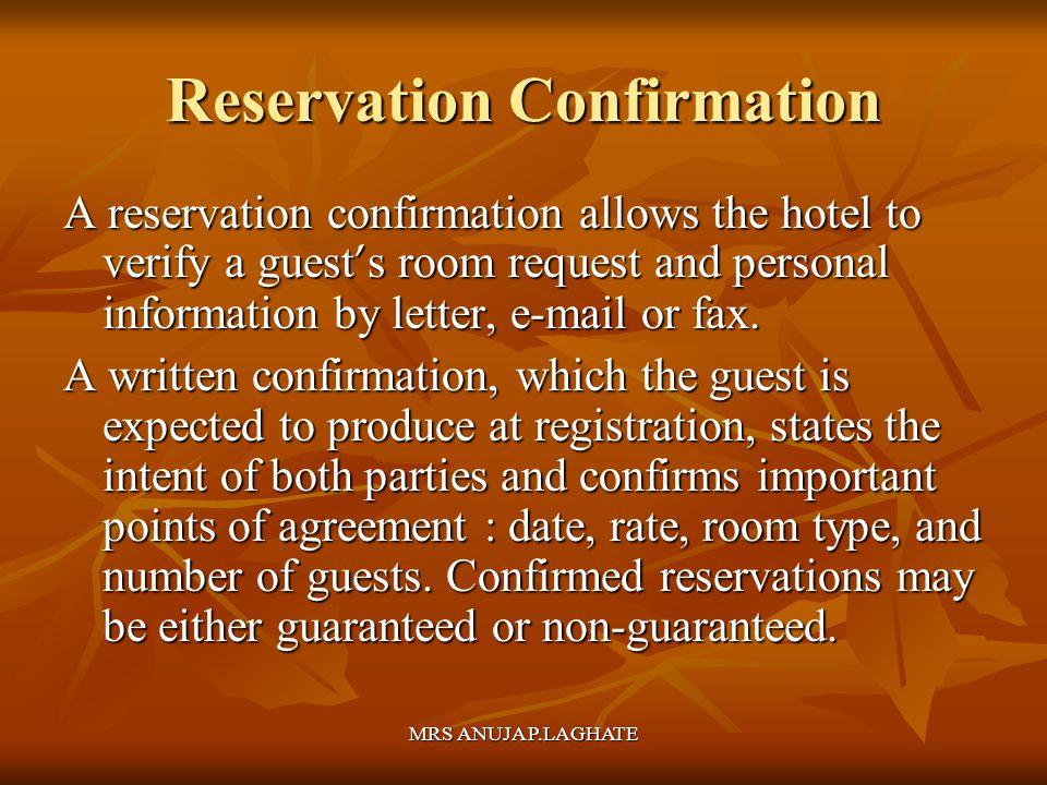 Reservation Confirmation