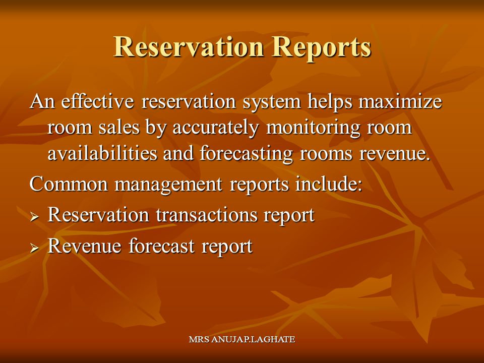 Reservation Reports