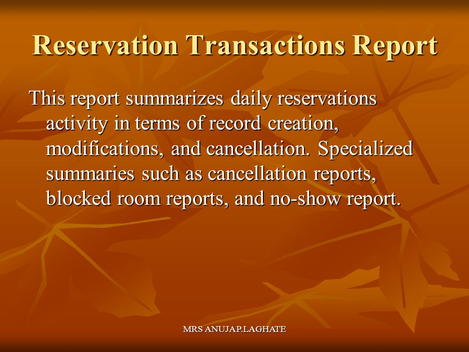 Reservation Transactions Report