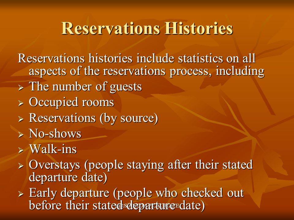 Reservations Histories