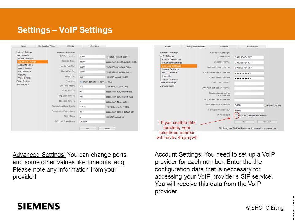 Settings – VoIP Settings