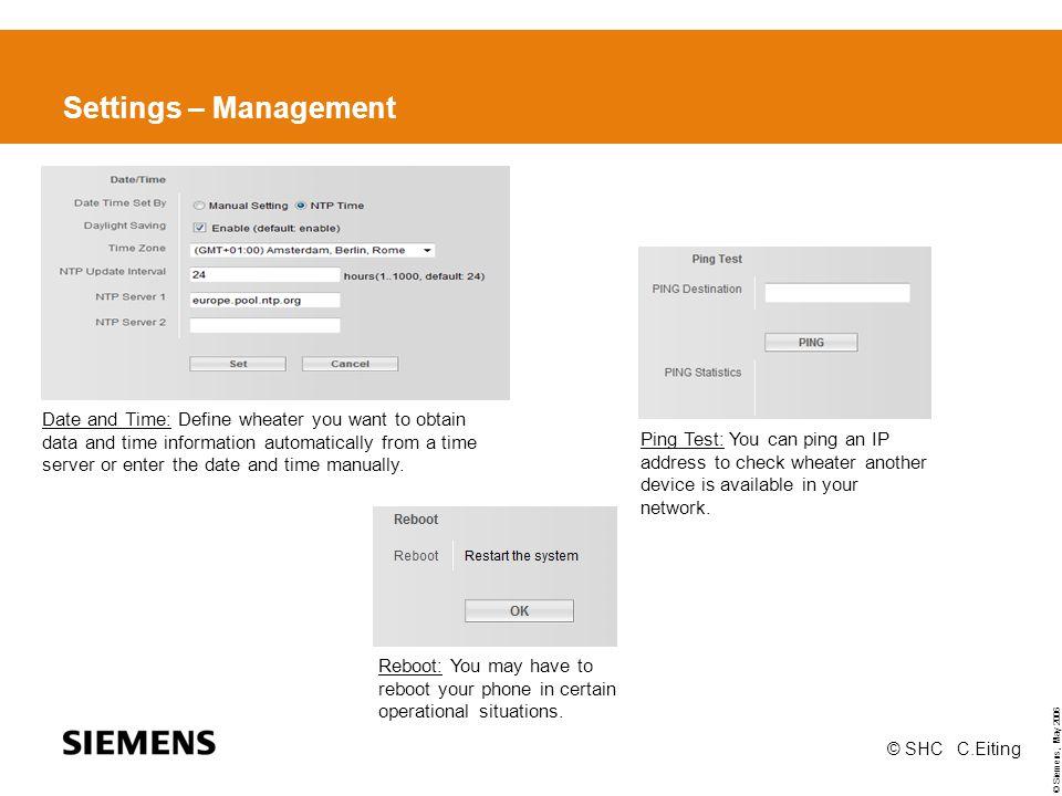 Settings – Management