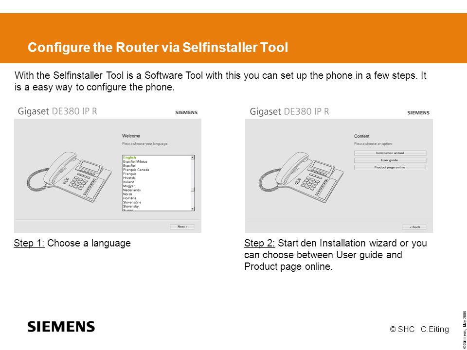 Configure the Router via Selfinstaller Tool