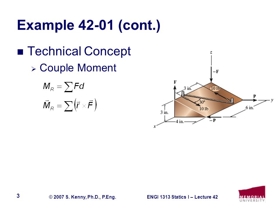 Example 42-01 (cont.) Technical Concept Couple Moment