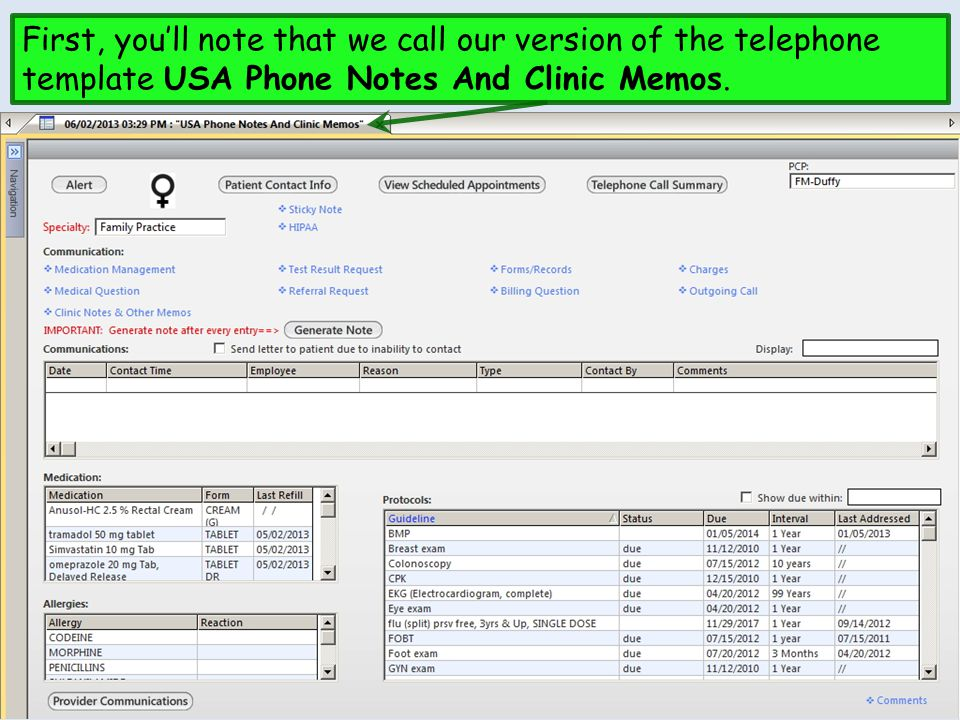 First, you'll note that we call our version of the telephone template USA Phone Notes And Clinic Memos.