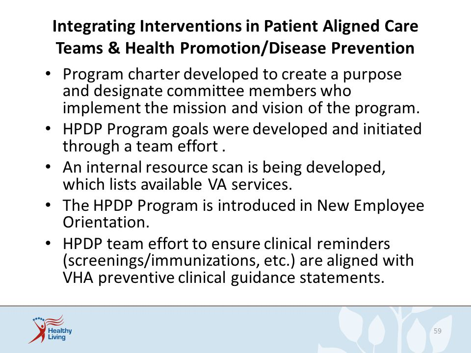 Integrating Interventions in Patient Aligned Care Teams & Health Promotion/Disease Prevention