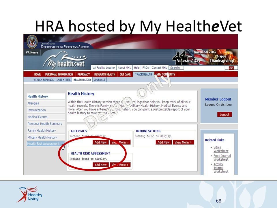 HRA hosted by My HealtheVet