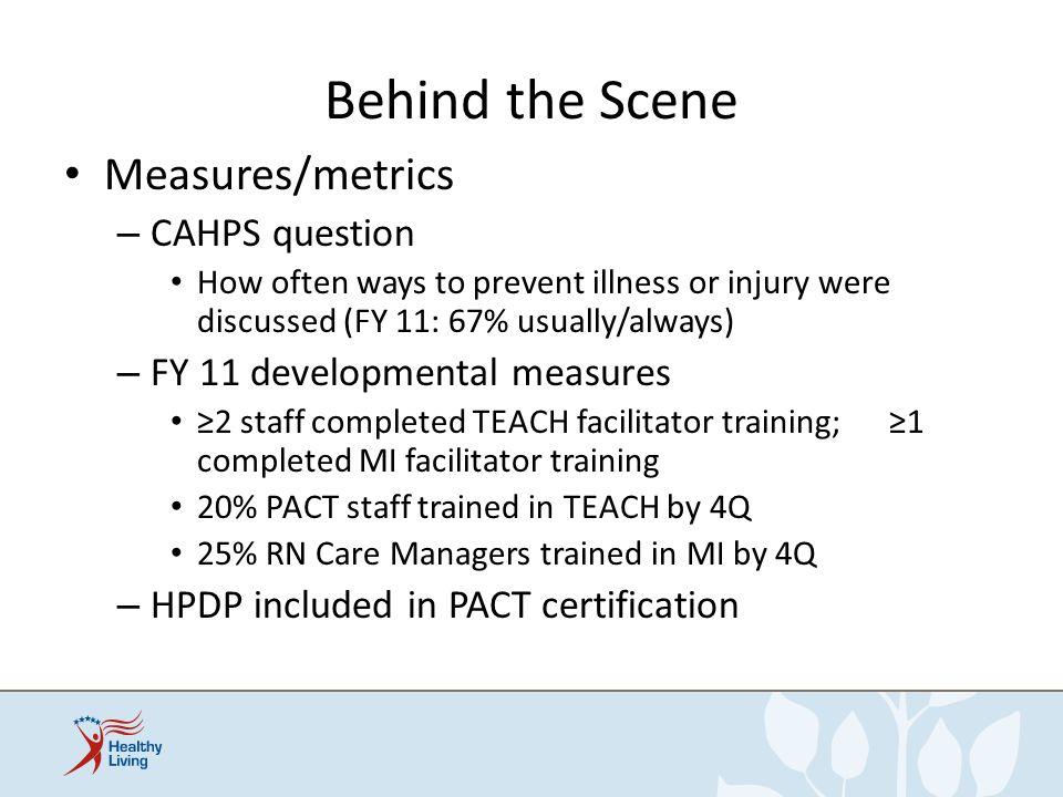 Behind the Scene Measures/metrics CAHPS question