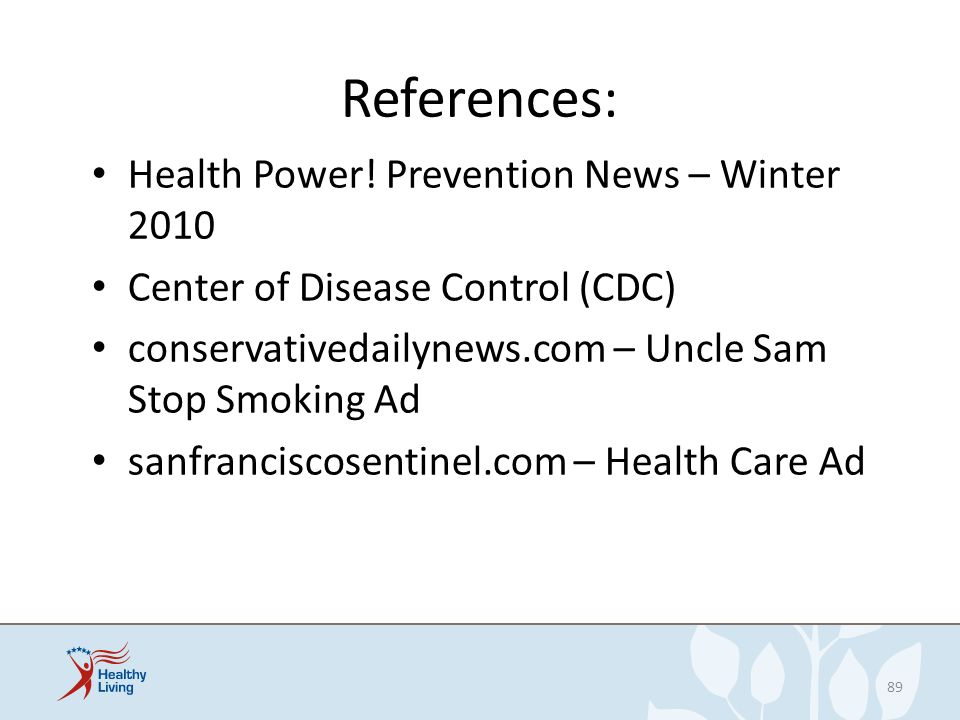 References: Health Power! Prevention News – Winter 2010