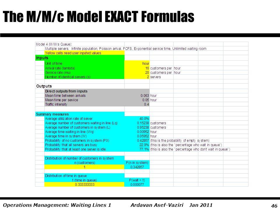 The M/M/c Model EXACT Formulas