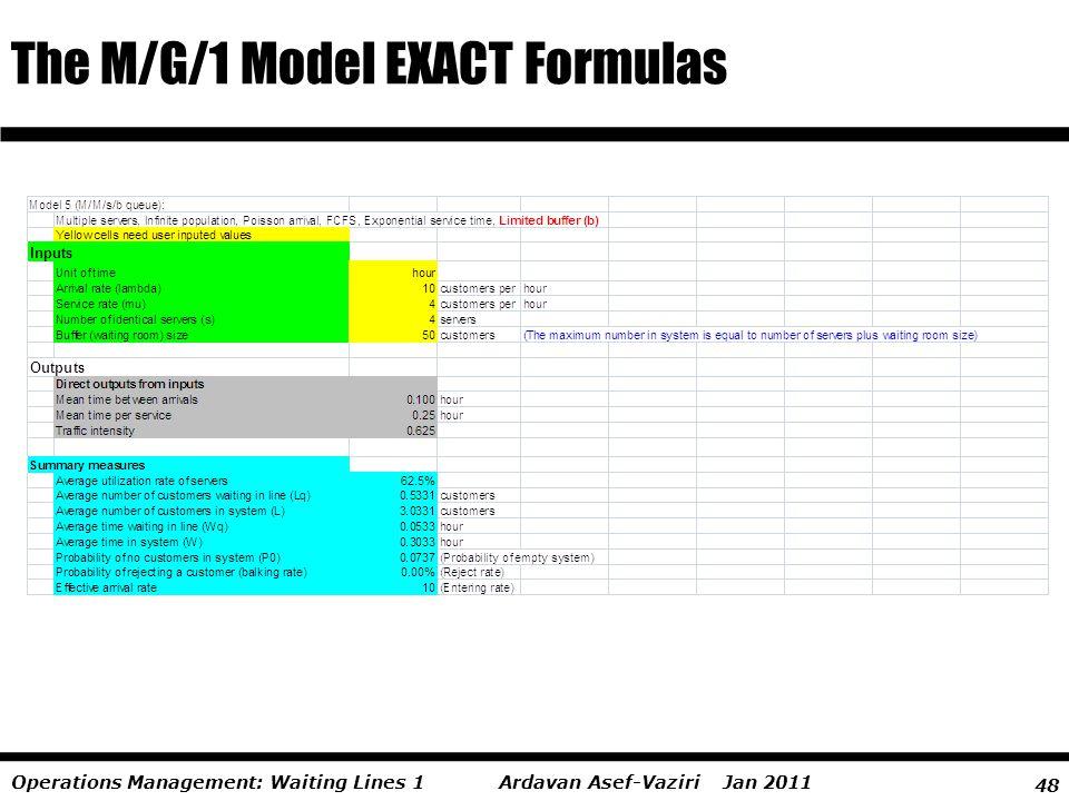 The M/G/1 Model EXACT Formulas