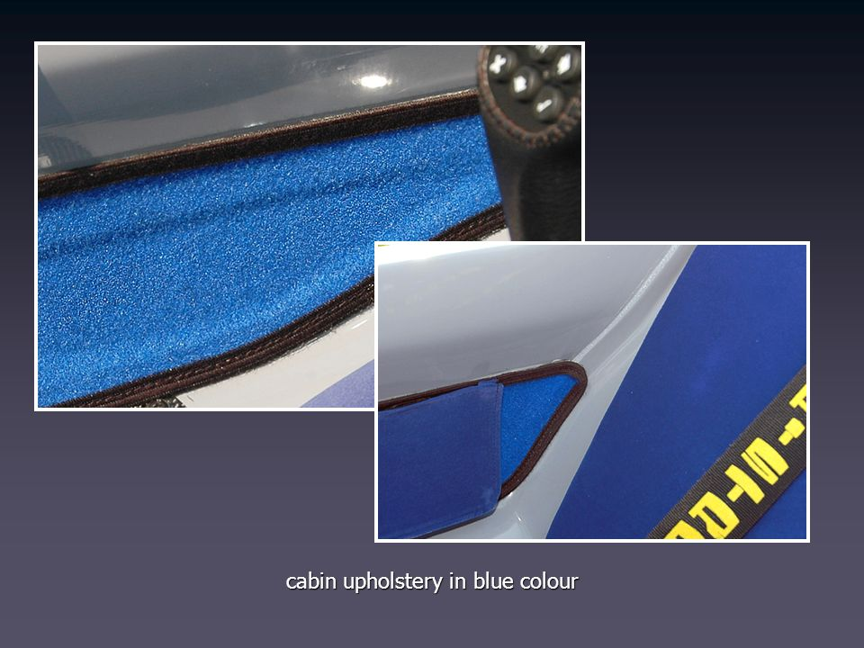 cabin upholstery in blue colour