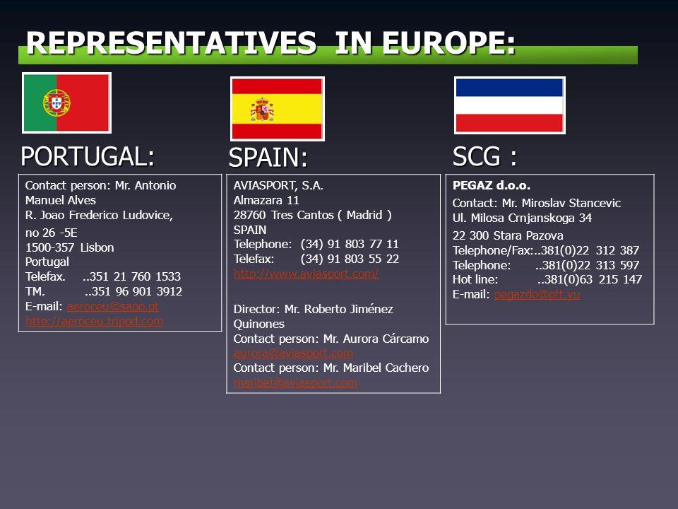 REPRESENTATIVES IN EUROPE: