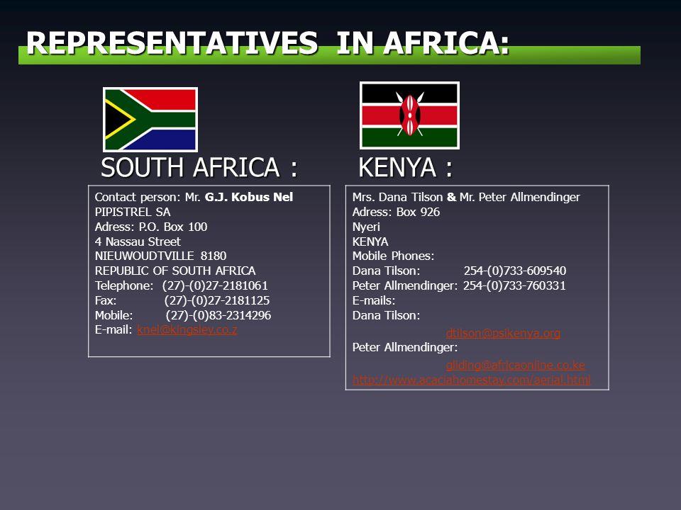 REPRESENTATIVES IN AFRICA:
