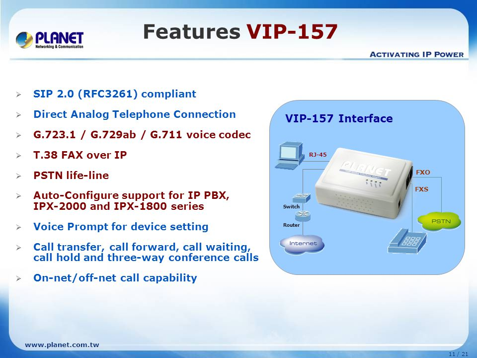 Features VIP-157 VIP-157 (1 FXS + 1 FXO) VIP-157 Interface