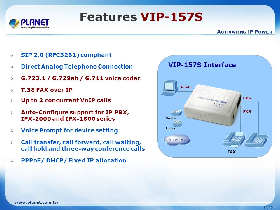 Features VIP-157S VIP-157S Interface VIP-157S (2 FXS)
