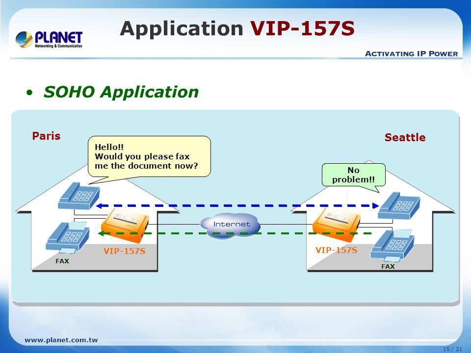 Application VIP-157S SOHO Application Paris Seattle Hello!!