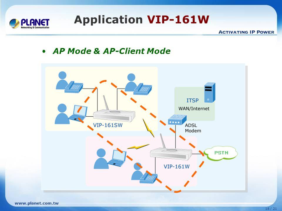Application VIP-161W AP Mode & AP-Client Mode