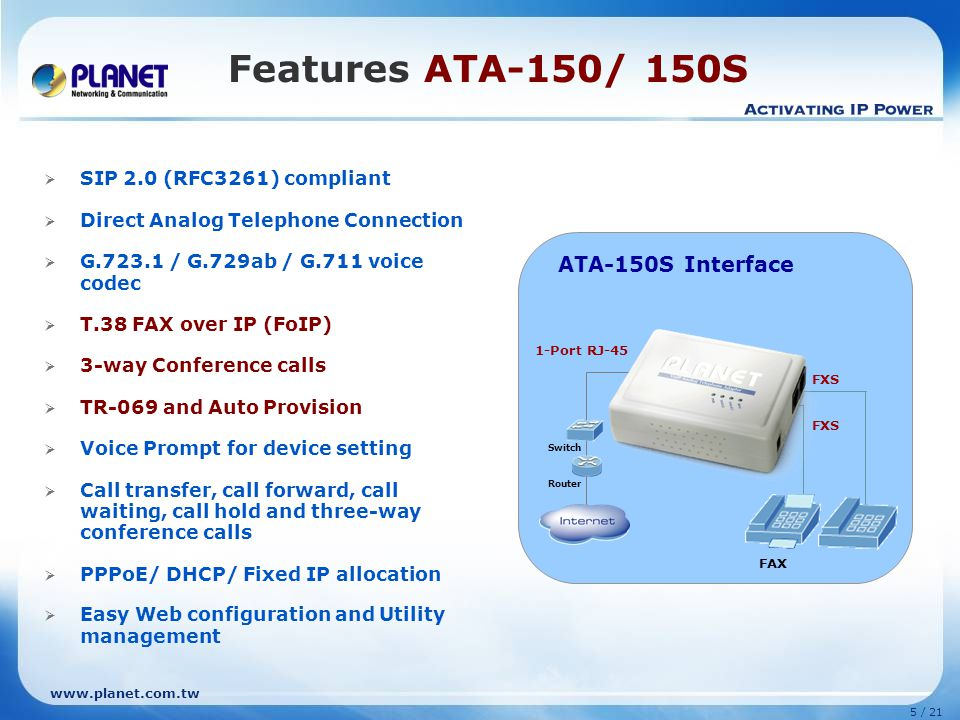 Features ATA-150/ 150S ATA-150S Interface ATA-150S (2 FXS)