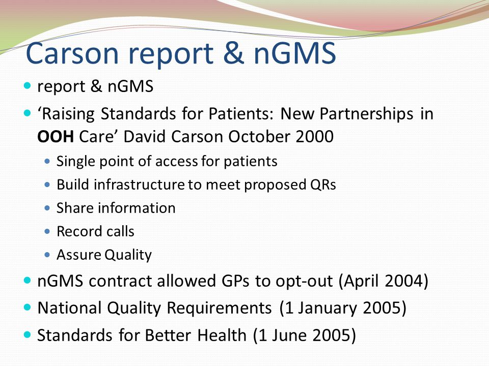 Carson report & nGMS report & nGMS