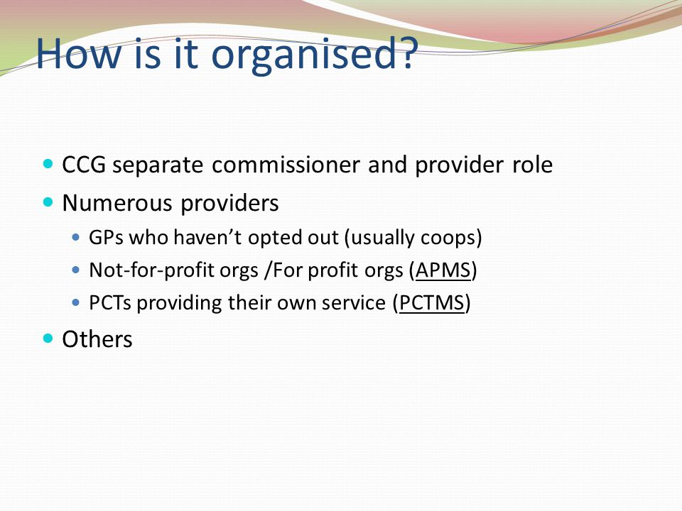 How is it organised CCG separate commissioner and provider role